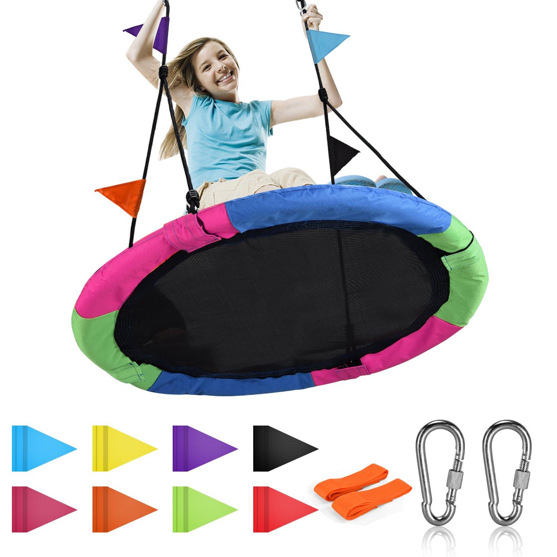 Springcoo Tree Swing, 40'' Diameter Very Large Swing for Multiple Kids Play,Height Adjustable