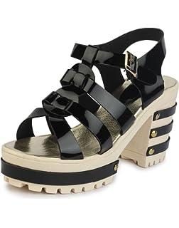 a97fe3b658b Do Bhai Patent-Hatoda Block Heeled Sandal for Women  Buy Online at ...