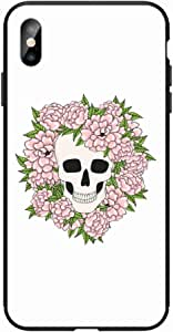 Okteq Case for iPhone X and iphone XS Shock Absorbing PC TPU Full Body Drop Protection Cover matte printed - skull lot of flowers By Okteq