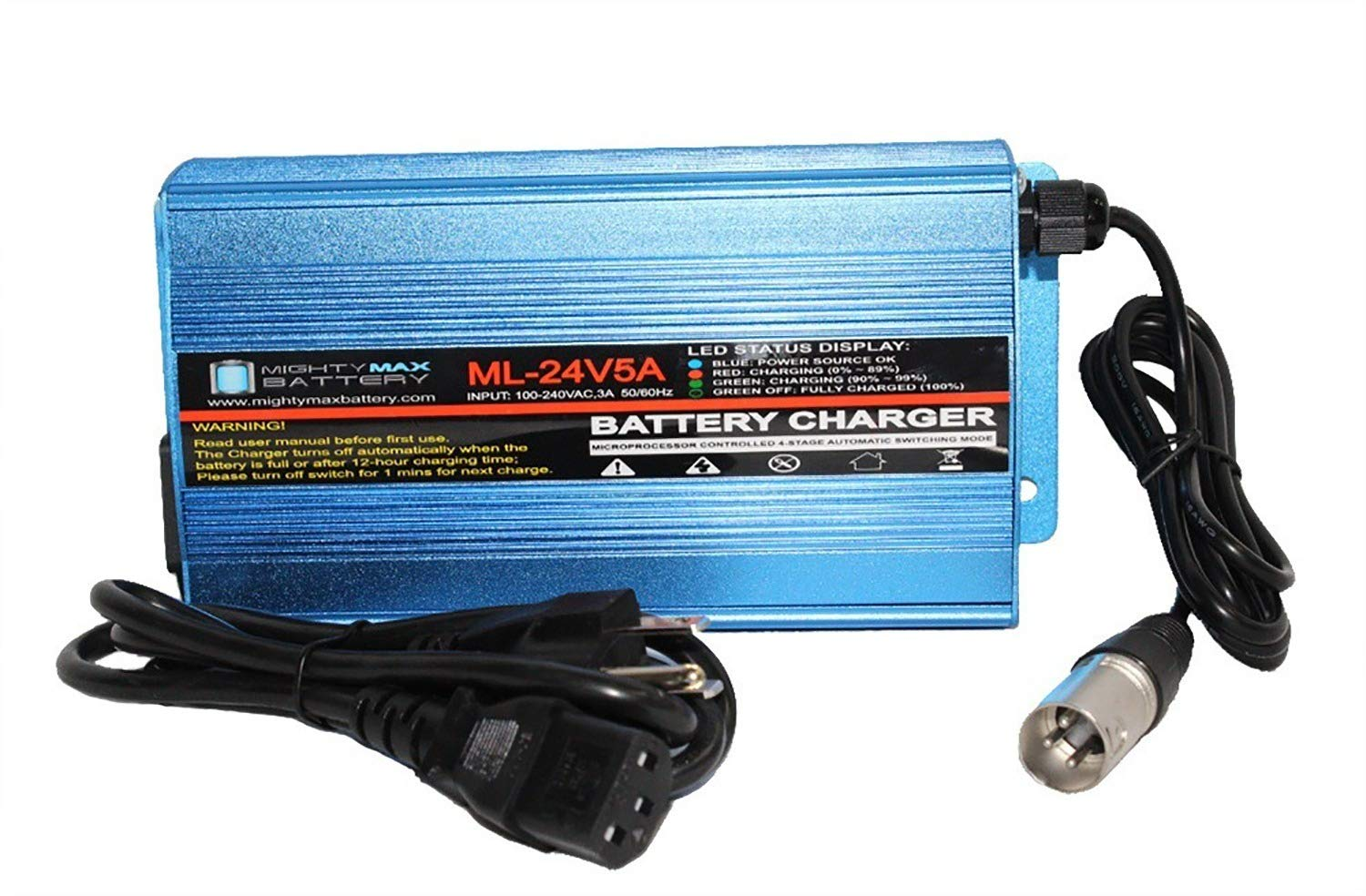 Mighty Max Battery 24V 5Amp 3 Stage XLR Charger for Pride Mobility Hurricane PMV500/5001 Brand Product