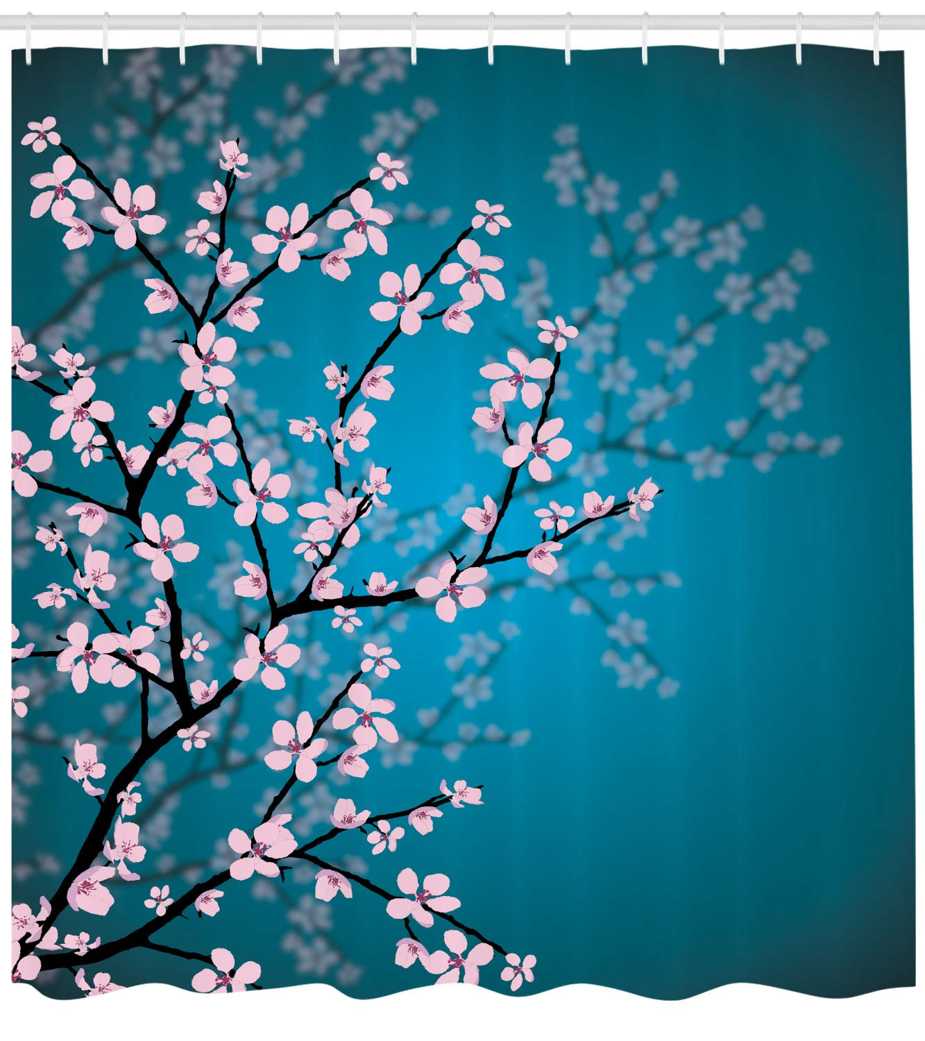 Ambesonne Teal Shower Curtain, Pink Blossoms Art Leaves and Plants Ombre Spring Japanese Sakura Flowers in Garden Park, Cloth Fabric Bathroom Decor Set with Hooks, 70'' Long, Blue Pink by Ambesonne