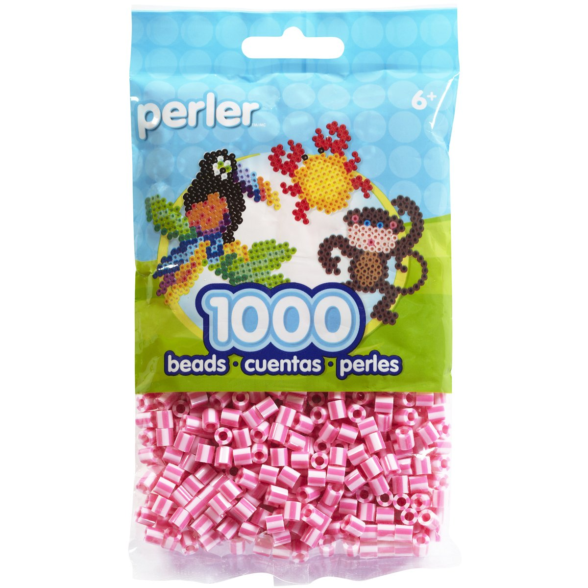 Pink Candy Striped Perler Beads for Kids Crafts, 1000 pcs by Perler