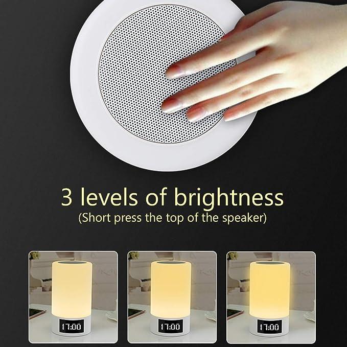 ... Sensor táctil lámpara de mesa, intensidad regulable luz Blanca cálida y cambio de Color RGB, reloj despertador y llamadas de Manos libres mejores ...