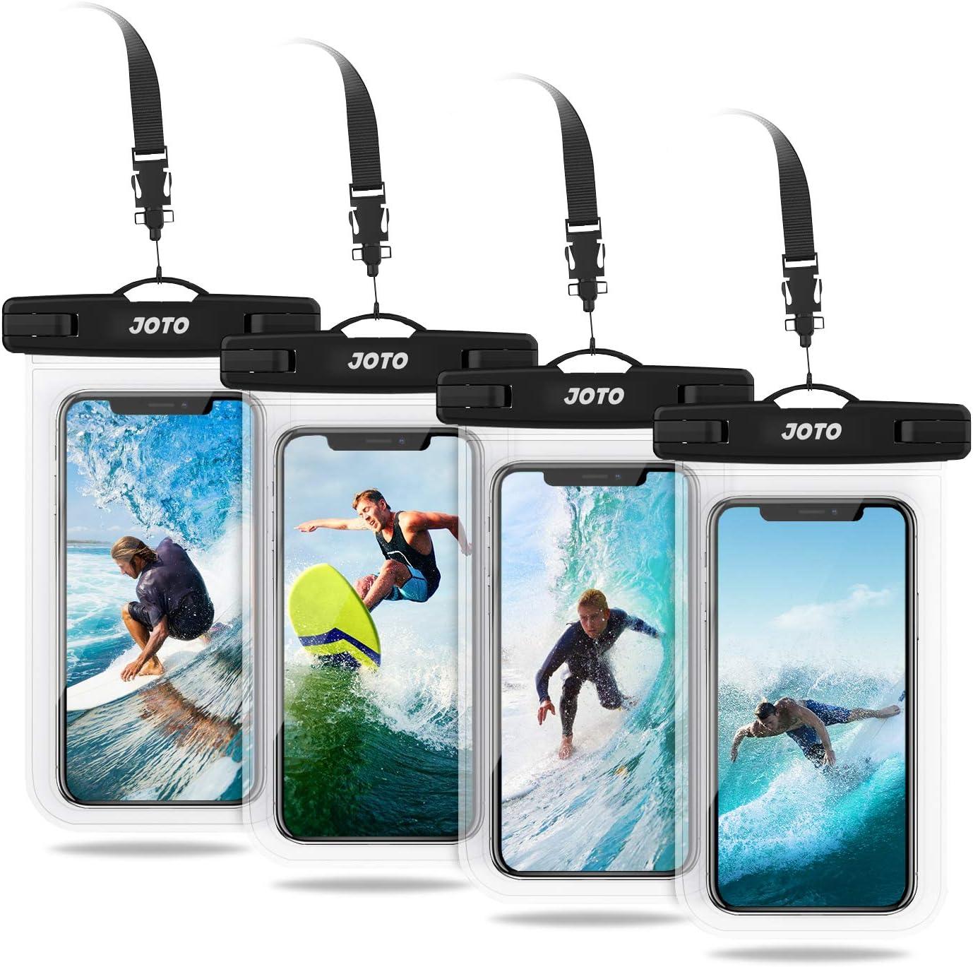 JOTO 4 uds. Bolsa Estanca Móvil Universal, IPX8 Funda Impermeable para iPhone 11 Pro Max/XS/XR/X/8/7+/6S/6S+, Galaxy S20+/S10e/S9/Note10+, Pixel 4, Huawei P30, Xiaomi Redmi Note hasta 6,5
