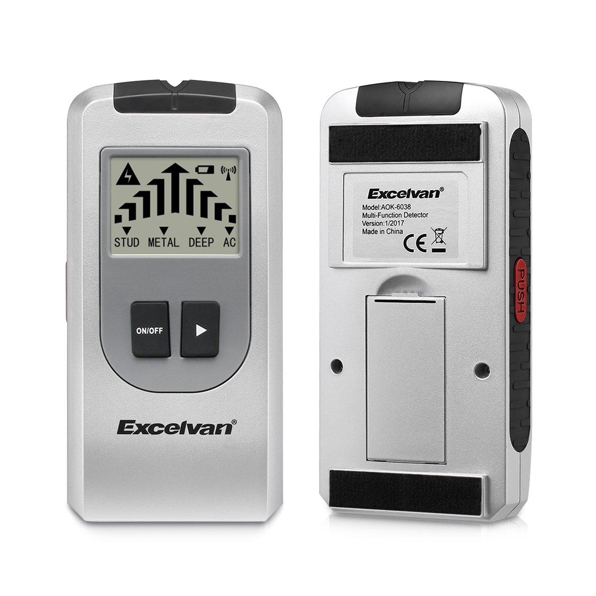 Excelvan AOK 6038 - Detector de Multifunción con Pantalla LCD (Detector de cables eléctricos, objetos metálicos, tuberías ocultas , madera), ...