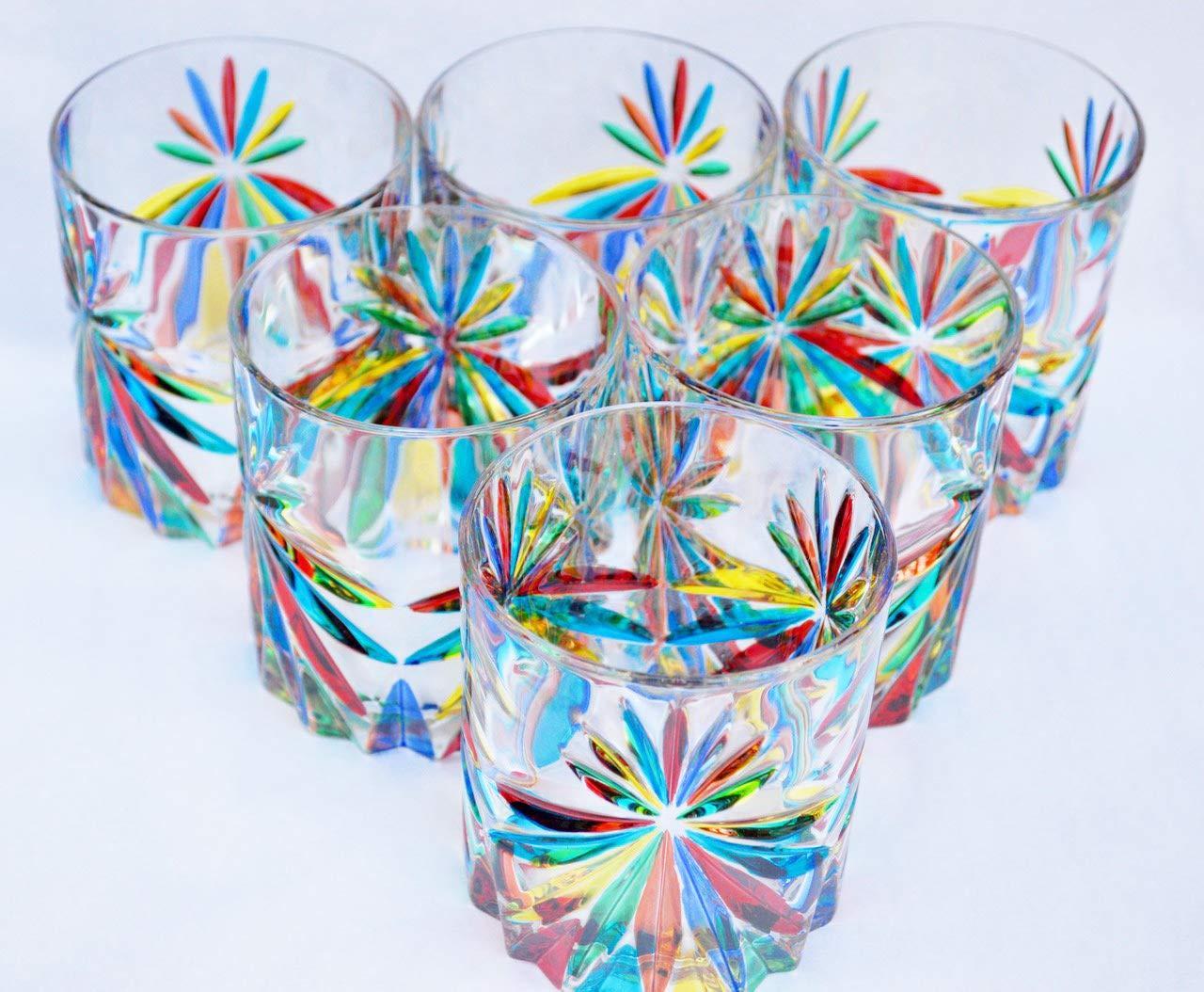 Authentic Murano Highball Glasses, Starburst Pattern, Set of 6 - Handmade Italian Glass