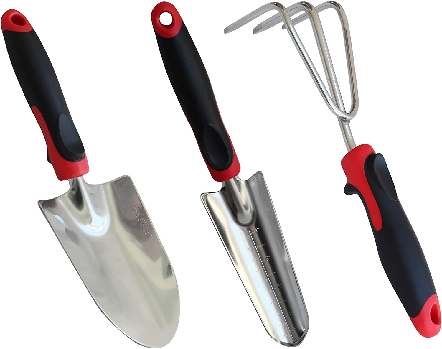 TABOR TOOLS D124A 3-Piece Garden Tool Set with Rubberized Non-Slip Handles, Stainless Steel, Includes Hand Trowel, Cultivator Hand Rake, and Transplanter with Gradation Marks