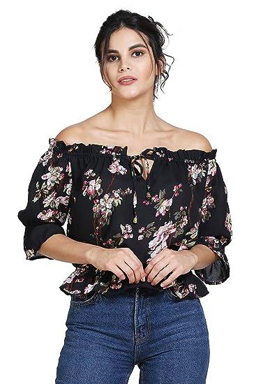 d24944726068c PIXIE lets work together! Women s Girls Black Floral Print Summercool Off  Shoulder Top (