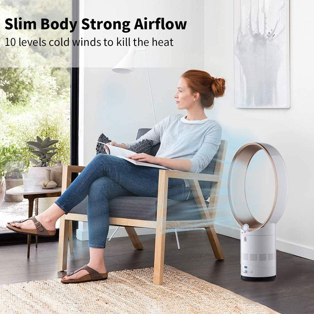 Office Bladeless Fan 14 Inch Negative Ions Safety Air Cooler Leafless Fan Bedroom Floor-standing Remote Control Tower Fan for Home