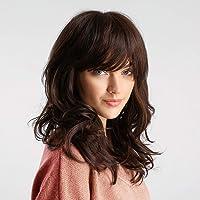 HAIRCUBE Pelucas marrones onduladas naturales con flequillo de aire Peluca rubia Ombre hasta los hombros para mujer…