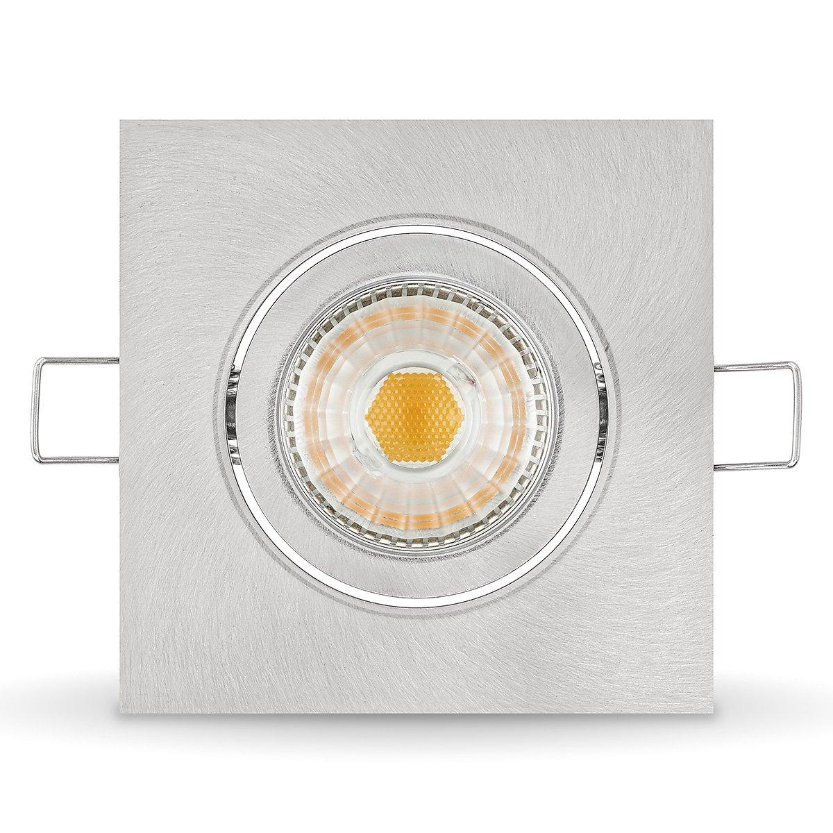5 x LED Einbauleuchten Set dimmbar inkl. Einbaurahmen 230V 6W GU10 2700k warm-weiß (5er Set)
