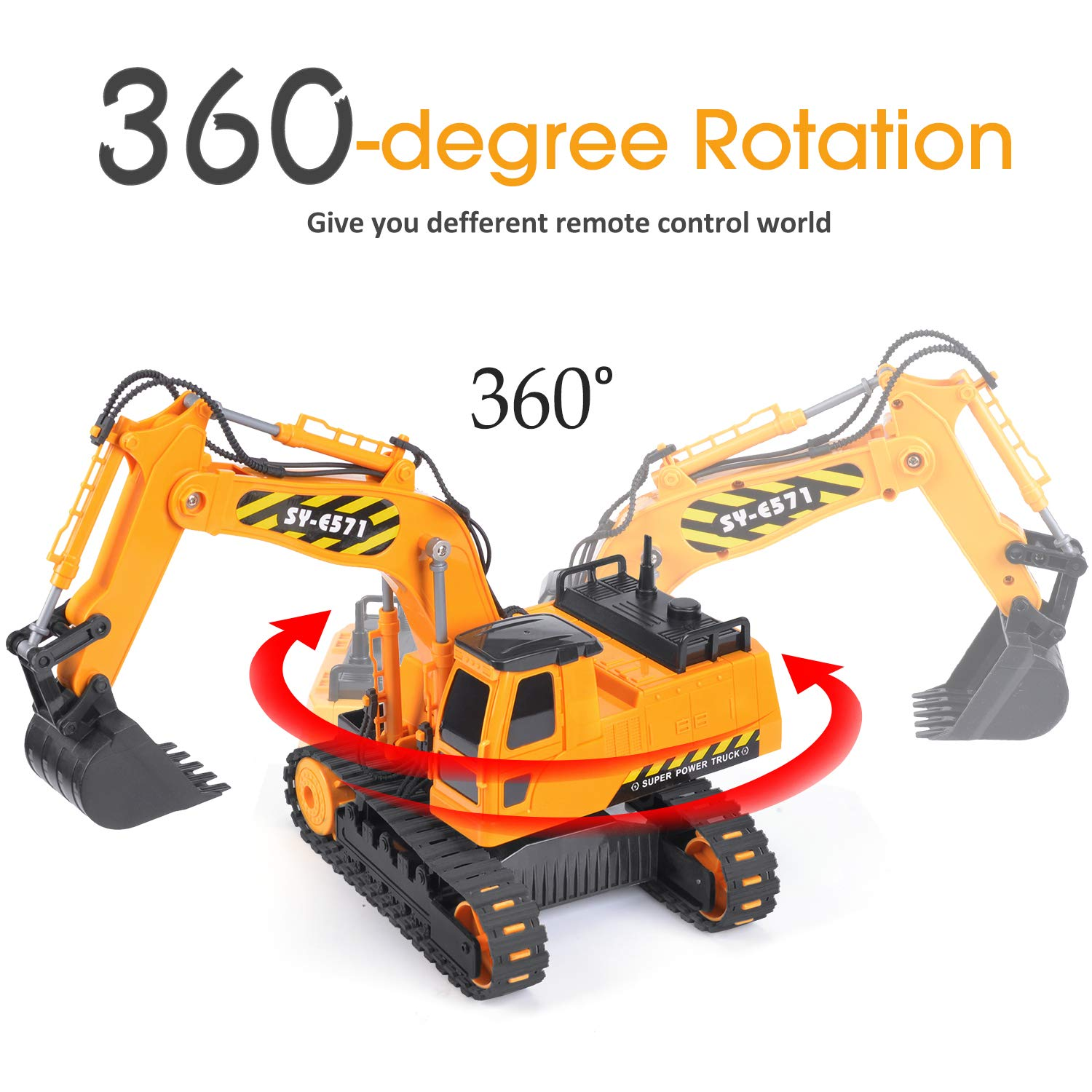 DOUBLE  E Remote Control Truck RC Excavator Toy with Rechargeable Battery Lights and Sounds 2.4GHz Construction Vehicles Tractor 1/26 by DOUBLE  E (Image #3)