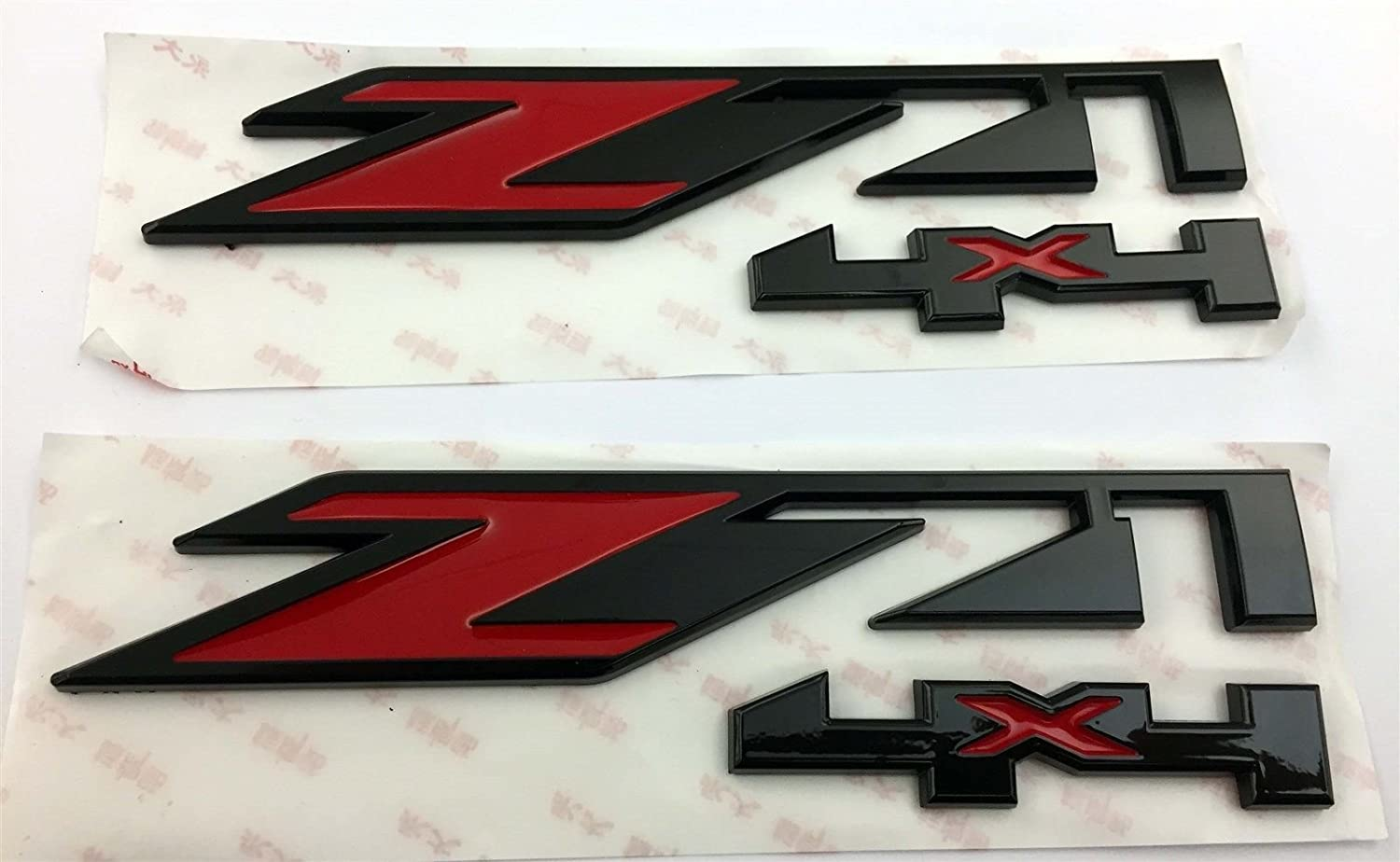BLACK Exotic Store Pair 2 Pieces Fit for CHEVY GMC Silverado Sierra Tahoe Suburban TRUCK Z71 4X4 EMBLEMS RED Silver 1500 2500 3500 Decal BLACK RED 7 X 2 Badges
