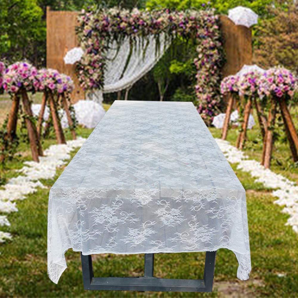 Awtlife Manteles cl/ásicos de Encaje Blanco para decoraci/ón de Bodas 150 x 300 cm