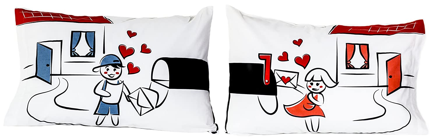 StellaMia Couple's Pillowcase Set - Soft White Poly Cotton - 'Mailbox' - Matching Romantic Gift Idea for Couples Anniversary, Wedding, Engagement, Christmas or Holiday Gift for Him and Her, 20x30 Inches, 50x75 Centimeters COMIN18JU008397