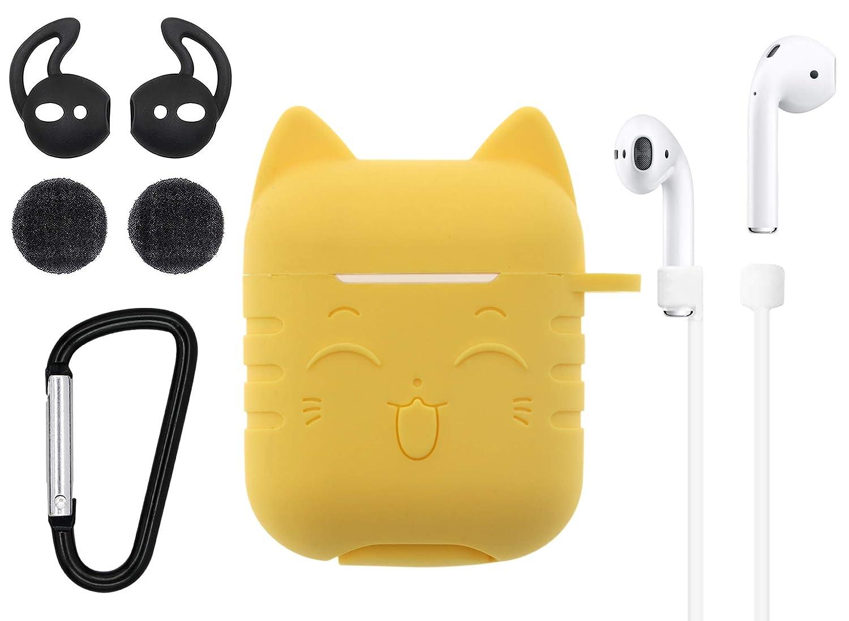Airpodsケースキャット 5in1 Airpodsアクセサリーキット Airpodsスキン かわいい 愛らしい猫 シリコンケースカバー キーチェーン付き イヤーフックストラップ フォームイヤホン Apple Airpods充電ケース用 airpodscatyellow  イエロー B07MR4M12P