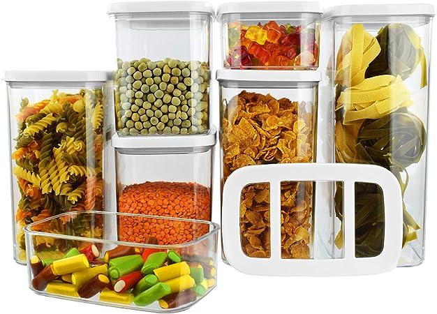 Vorratsdosen Set 7 teilig Aromadicht Aufbewahrungsbox BPA Frei Frischhaltedosen Vorratsbehälter Form Rechteckig Kunststoff transparent