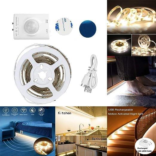 Luz de tira del sensor de movimiento del LED, luz nocturna recargable activada por movimiento,luz de noche del sensor de movimiento con temporizador ...