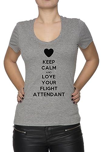 Keep Calm And Love Your Flight Attendant Mujer Camiseta V-Cuello Gris Manga Corta Todos Los Tamaños ...