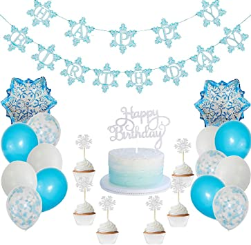 Swell Amazon Com Winter Wonderland Frozen Happy Birthday Banner Cake Birthday Cards Printable Opercafe Filternl