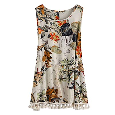 Anshinto Women Summer Boho Printing Tassel Dress Casual Beach Dress Sundress