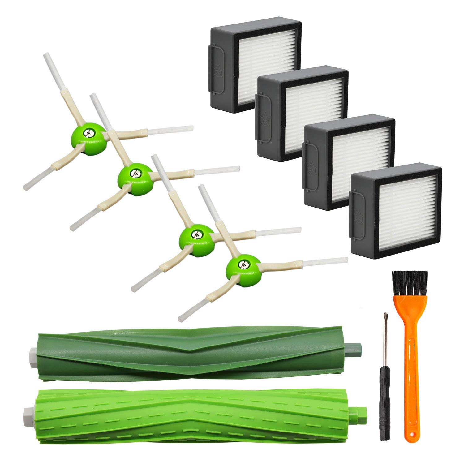 Lemige 9 Pack Replacement Parts for iRobot Roomba i7 i7+/i7 Plus E5 E6 Vacuum Cleaner Set, 1 Set of Multi-Surface Rubber Brushes & 4 Pack HEPA Filters & 4 Pack Edge-Sweeping Brushes