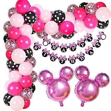Kreatwow Minnie Balloon Garland Arch Kit para Decoraciones de Fiesta de cumpleaños temáticas de Minnie o Suministros de Baby Shower