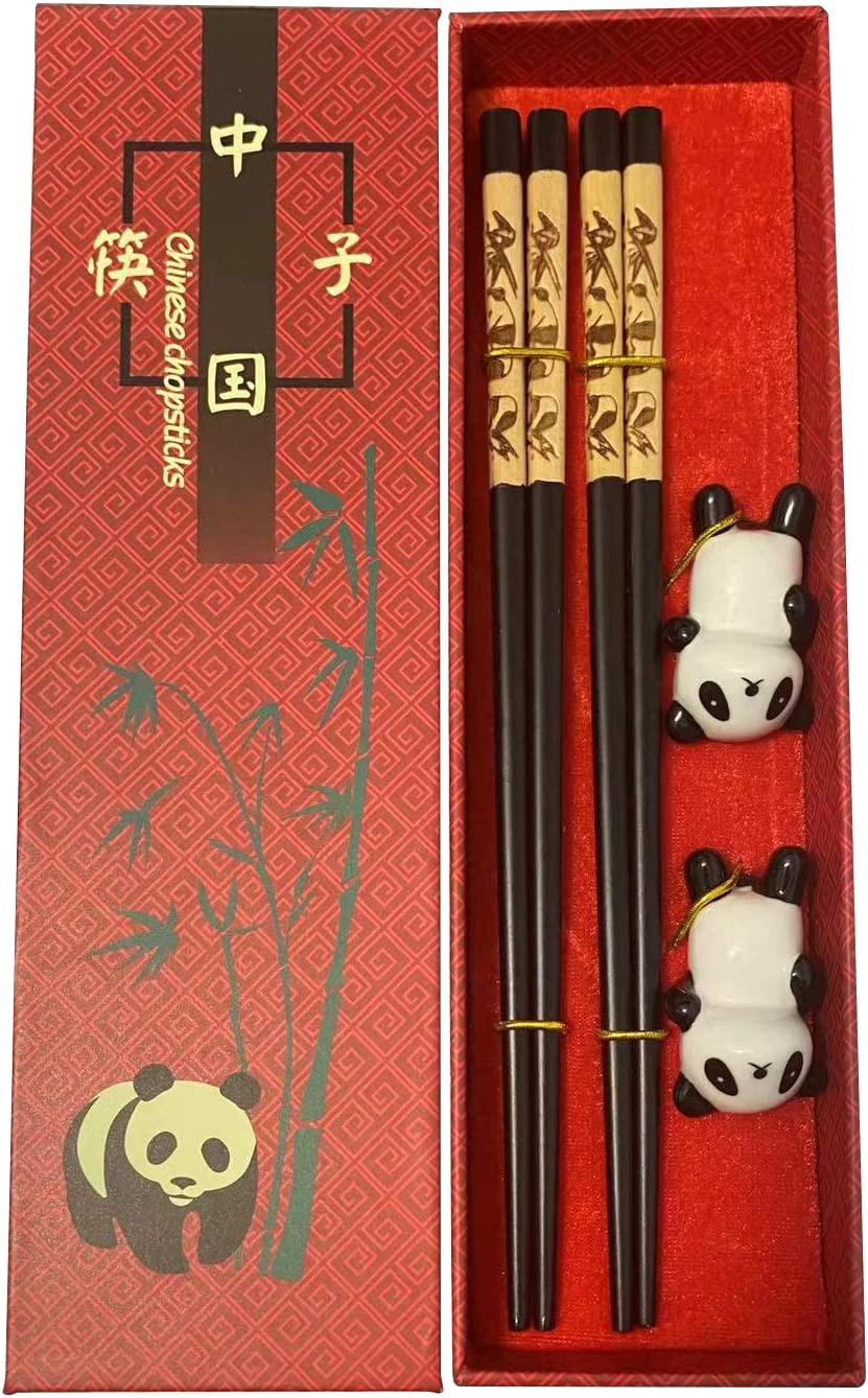 Reusable Wooden Chopsticks Chinese panda Chopsticks Chinese Traditional Stylish New Year Gift Set Chopsticks are approximately 9 inches long (2 Pairs)