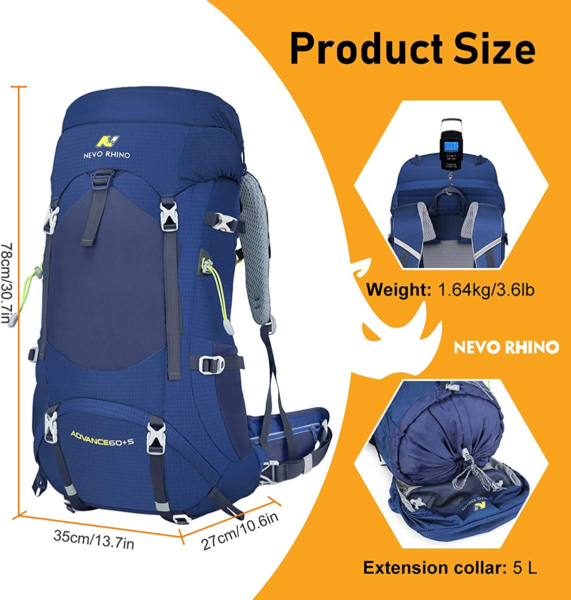 NEVO Rhino 65L Internal Frame Backpack,Ultralight Waterproof Daypack for Hiking Camping