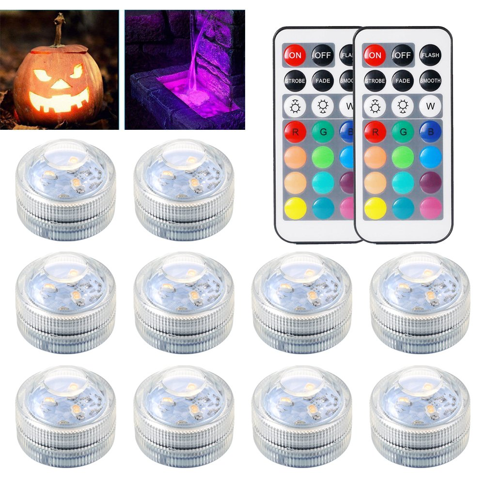 Underwater Submersible LED Lights Waterproof Multi Color Battery Operated Remote Control Wireless RGB Changing Lights for Garden Centerpieces Pond Pool Fountain Waterfall Aquarium Vase Base Christmas