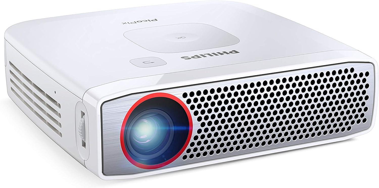 PHILIPS - PicoPix Plus PPX4835 I Proyector Portátil HD |Altavoces incorporados 3V | hasta 150 Pulgadas | 350 Lúmenes |3 Horas de Batería | Tecnología Bluetooth |LED | HDMI | USB | Blanco
