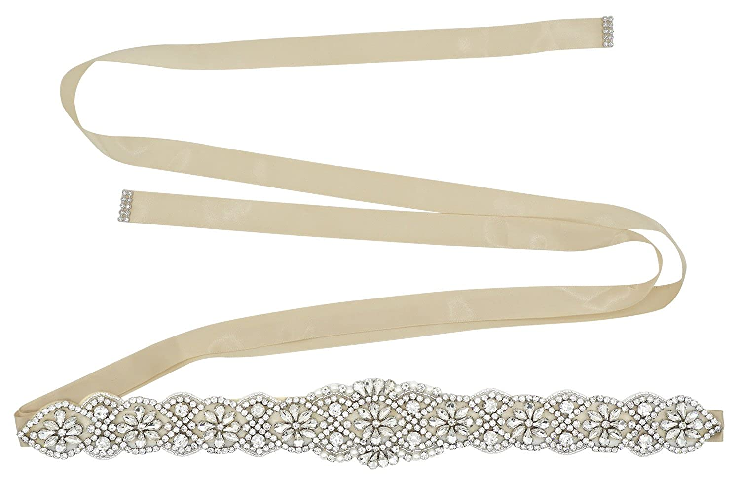 Lovful Bridal Crystal Rhinestone Braided Wedding Dress Sash Belt Beige Sash One Size ELA17030080