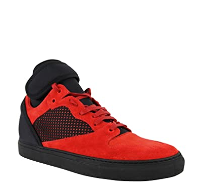 0b19b394105 Balenciaga High Top Black/Red Suede Leather Sneakers 412349 6561 (IT 39 / US