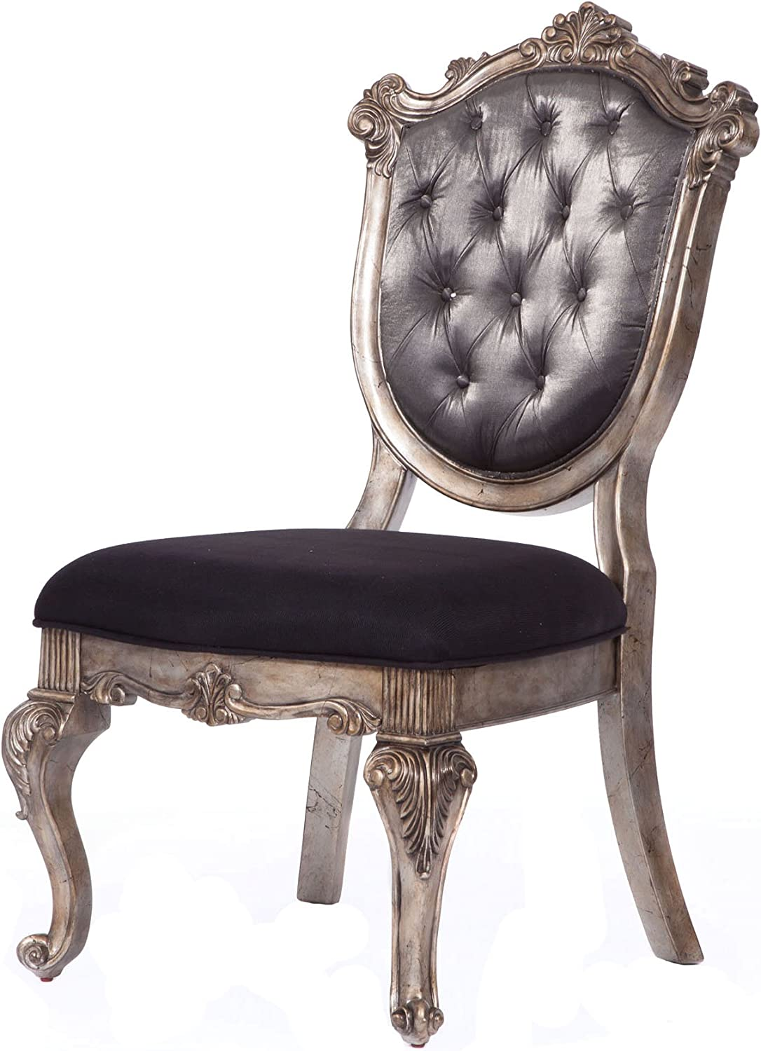 Acme Chantelle Side Chair 60542 Silver Gray Silk Like Fabric Antique Platinum Chairs