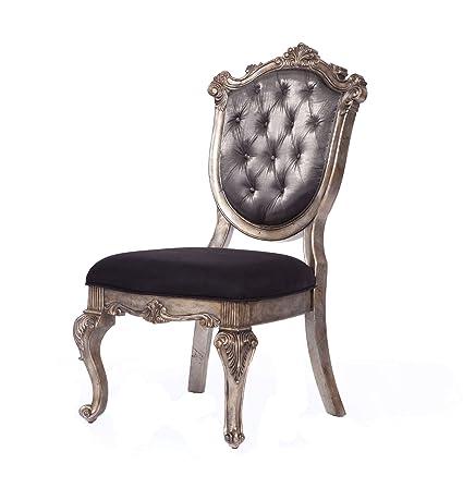 Acme Furniture 60542 Chantelle Side Chair Set Of 2, Antique Platinum/Silver  Gray Silk
