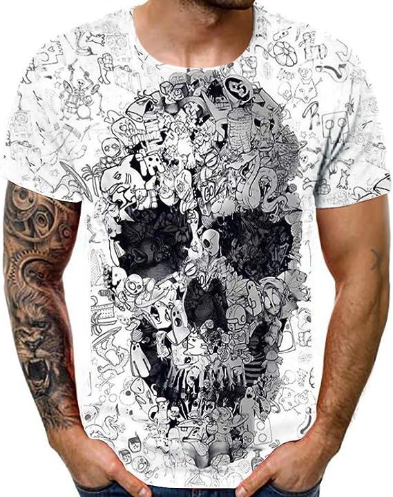 Camiseta para Hombre,Verano Manga Corta Hombre 3D Impresión Moda Diario Casual T-Shirt Camiseta Jaspeada de Cuello Redondo Suave básica Tops Camiseta ...