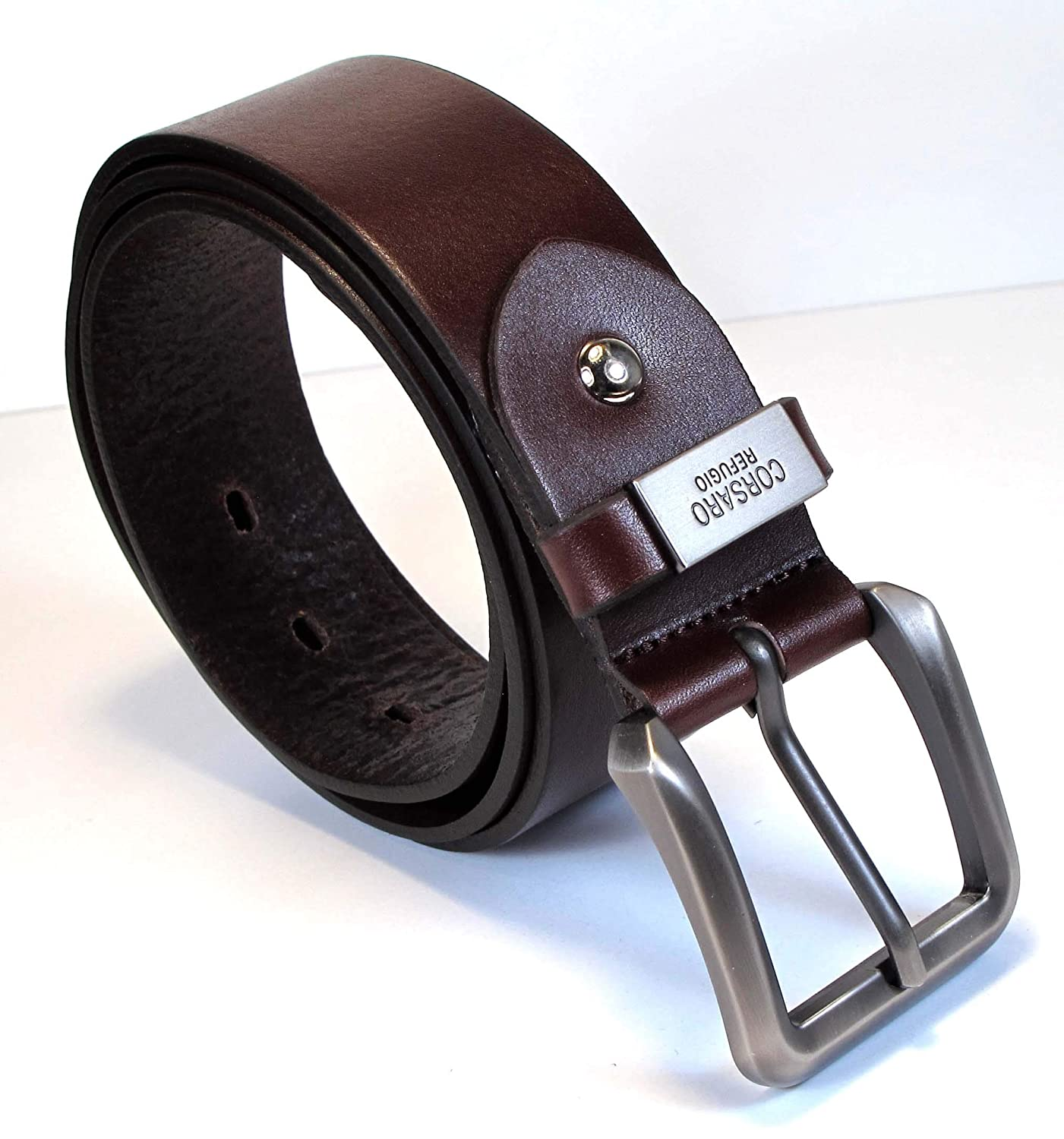 Mens Real Genuine Leather Belt Black Brown White 1.5 Wide S-XL Casual Jeans TM6