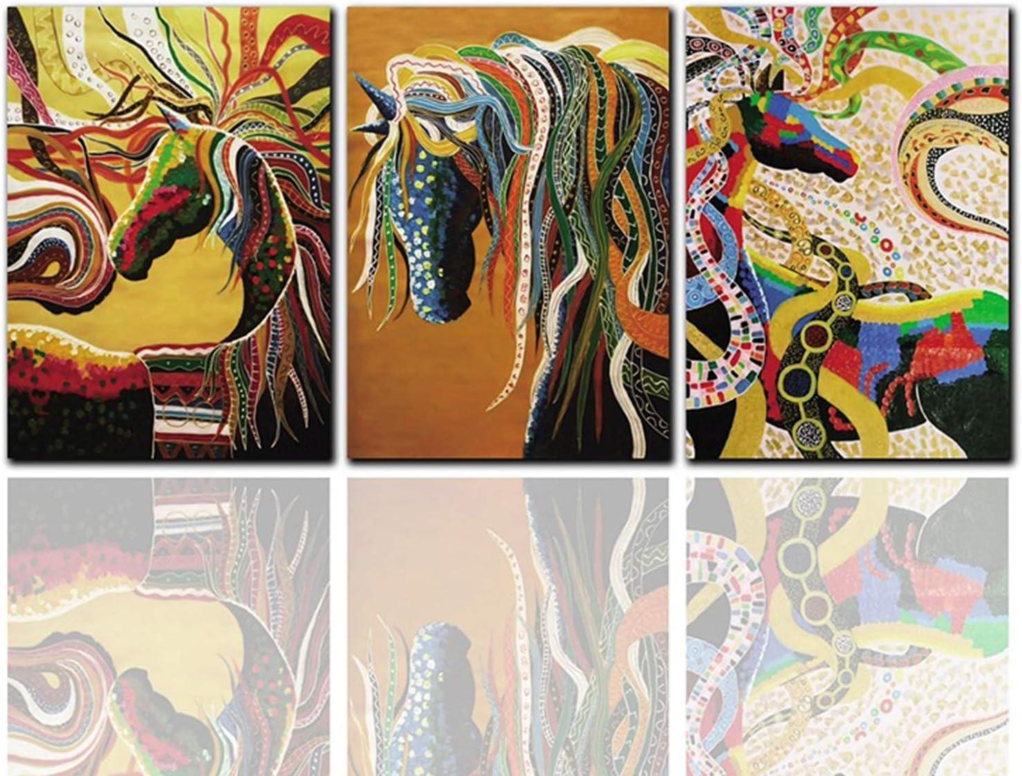 BQSWYD Arte Pop Clásico del Aceite Pintura del Arte Lona de la Decoración Cuadros Carteles e Impresiones Extracto Colorido del Caballo del Cuadro del Animal Ilustraciones, Sin Marco,2,80x120cm