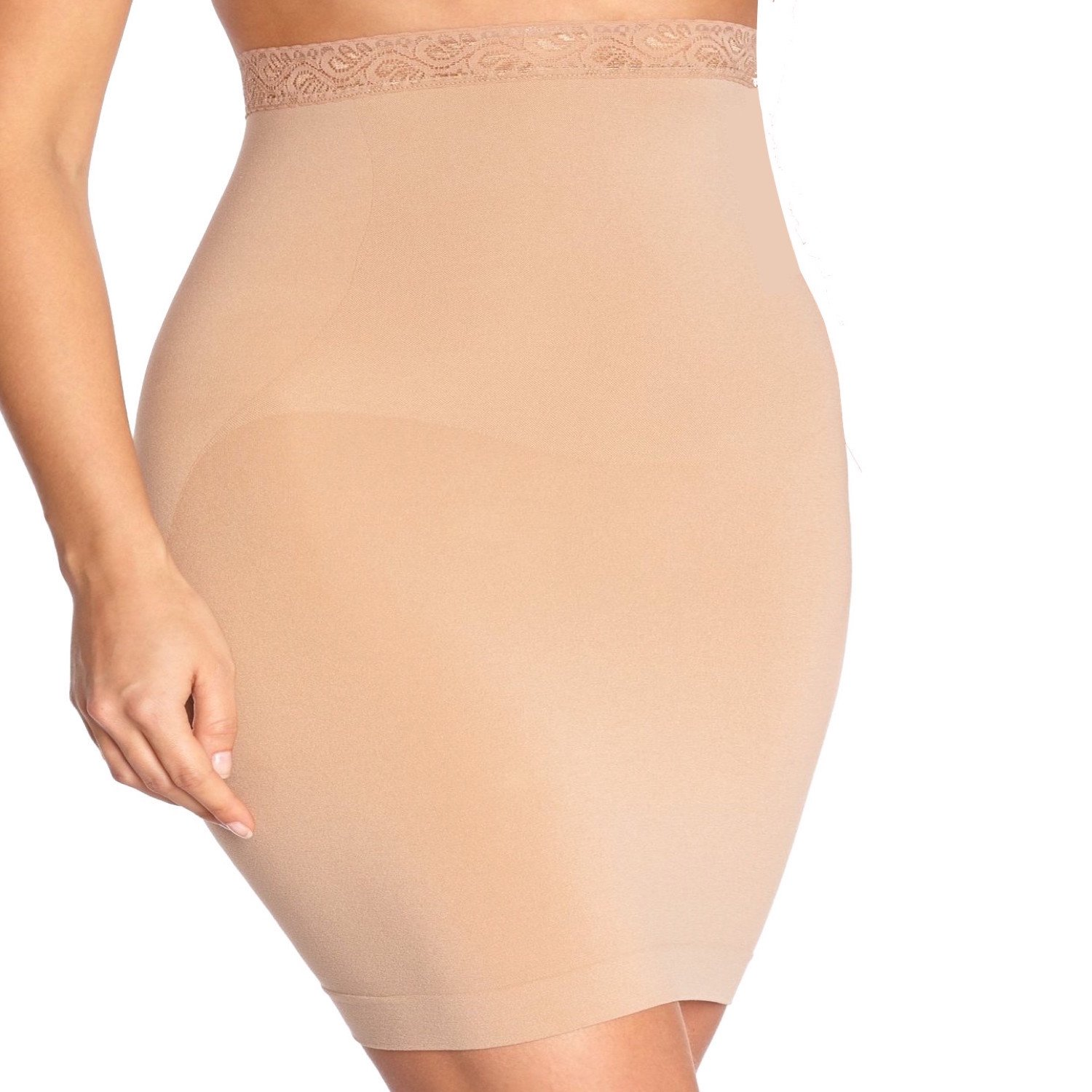 Body Wrap Plus Size Lace Trimmed High Waist Half Slip Shaper – Onyx Body Bracelet Series – Slim Lift and Shape – Seamless 100% Invisible – Women – Control Level Firm – Beige and Black BW48.832BB