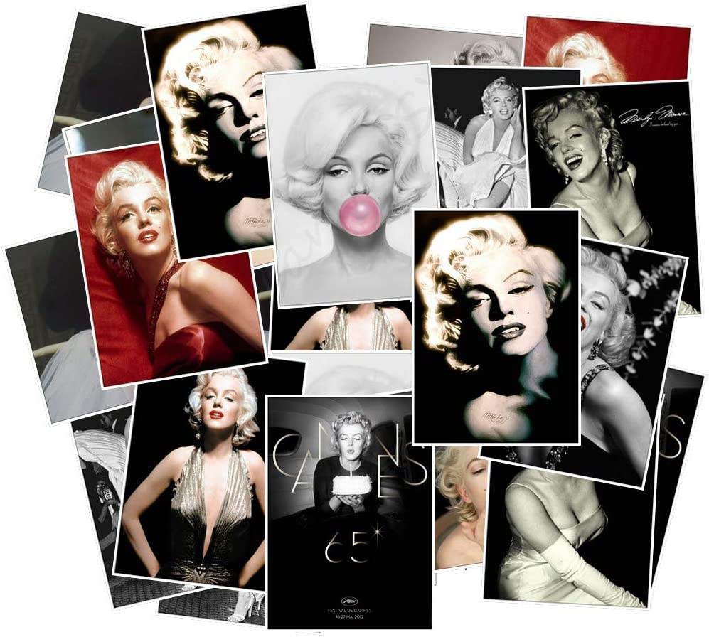 Marilyn Monroe Stickers for Water Bottle and Laptop 25pcs Pack, Waterproof Durable Trendy Vinyl Hydro Flask Decal for Teen Girl, Travel Case, Compute, Phone, Skateboard, Guitar