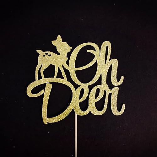 f904da8722e1c Amazon.com: Oh Deer Cake Topper, Oh Deer Baby Shower, Woodland Baby ...