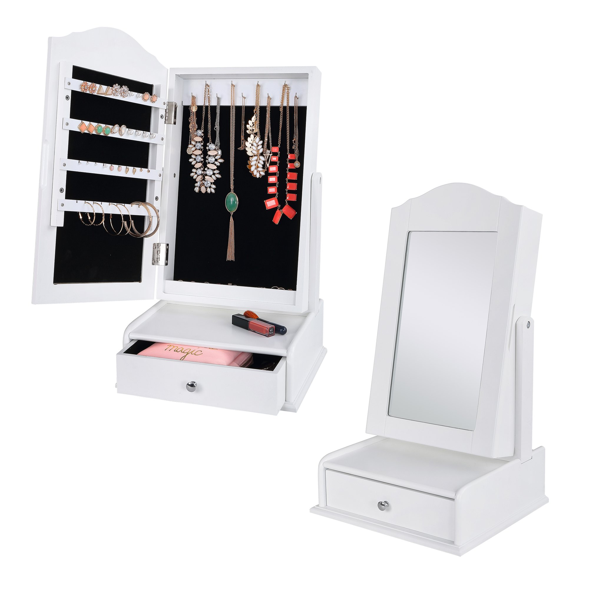Dependable Direct Jewelry Organizer Cabinet with Mirror - Compact Storage For Your Jewelry Collection – Pull Out Drawer