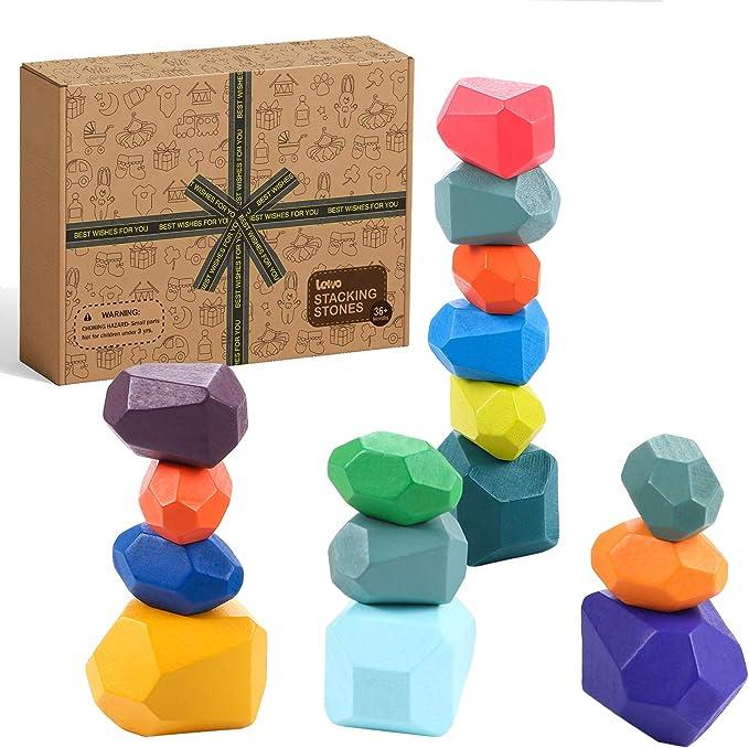 A 16PCS Gioco di accatastamento del legno,Equilibrio giocattolo,Legno Pietra dellequilibrio,educativo Giocattolo per Bambini Bambini,Pietre di Legno Colorate Impilabile,Gioco Rock Blocks