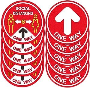 Hohomark Directional Arrow Decal Stickers for Floors,10pcs,11'' Social Distancing Floor Decal for Shop,Restaurant,School,Office