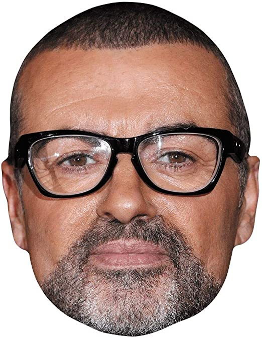 Card Face and Fancy Dress Mask B/&W George Michael Celebrity Mask