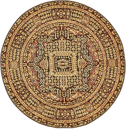 Unique Loom Palace Collection Traditoinal Geometric Classic Brown Round Rug (3' 3 x 3' 3) - Palace Small Rug