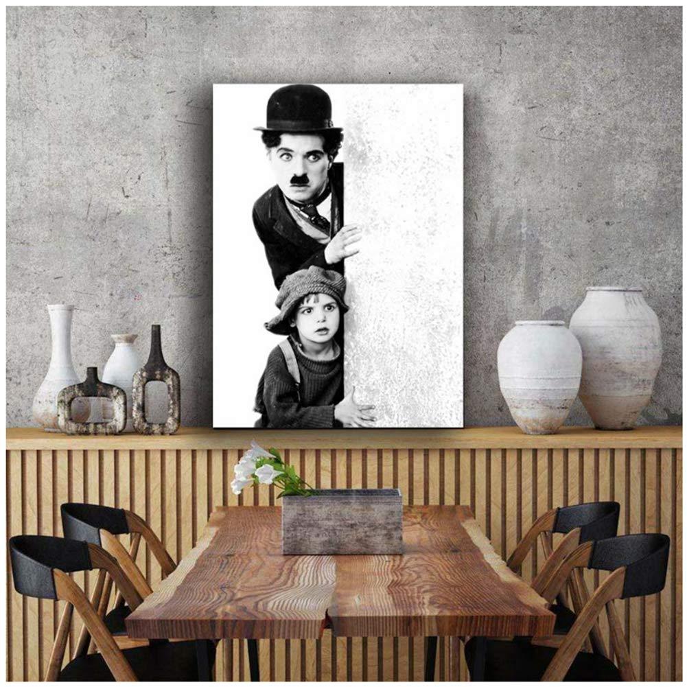 P/óster de la pel/ícula Charles Chaplin en blanco y negro con marco de madera estirado para decoraci/ón de pintura sin marco 60 x 80 cm