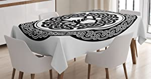 Ambesonne Celtic Tablecloth, Native Celtic Tree of Life Ireland Early Renaissance Modern Design, Rectangular Table Cover for Dining Room Kitchen Decor, 60