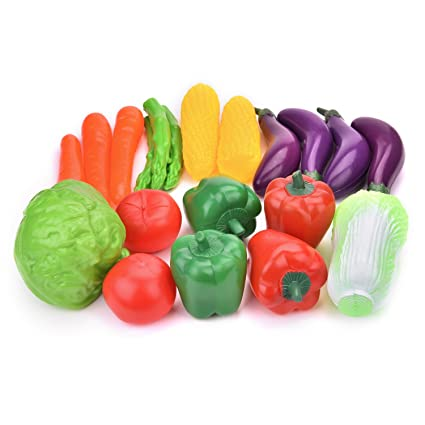 FUN LITTLE TOYS Play Food Set For Kids Plastic Play Vegetables Toy Play Kitchen  Accessories