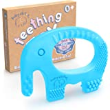 Baby Boy Teething Toys - BPA Free Silicone Chew Toy - Cute Easy to Hold Soft and Highly Effective Elephant Teether Rings, Tee